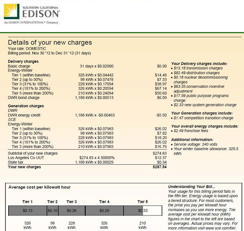 What It Costs To Charge In Southern California Edison Territory Archive Gm Volt Chevy Forum